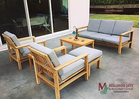 Sofa Tamu Outdoor Topanga Jati Minimalis Rizka Abadi Furniture